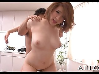 Breasty japanese's explicit three-some