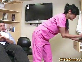 CFNM nurse Persia Pele gets a facial