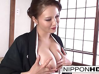 Horny Japanese cutie plays with herself