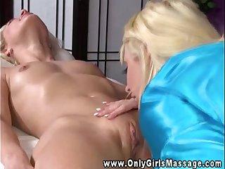 Blonde masseuse tongue stimulating clit