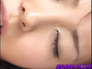 Naughty Japanese doll Mai gets shaved pussy finger fucked before swallowing cock