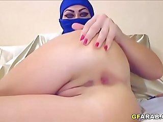Arab Slut In Hijab Tries Anal With A Dildo