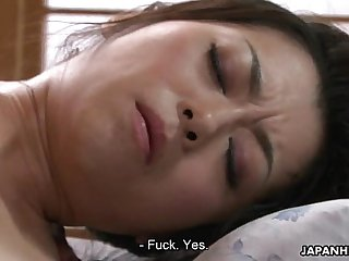 Hairy Asian pussy gets licked and toyed