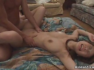 Aamazing Japanese babe gets her shaved pussy spread then fucked Uncensored