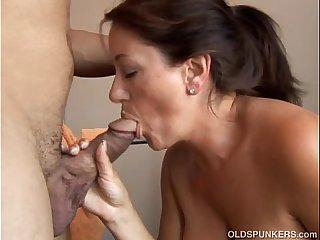 Beautiful busty old brunette spunker loves to suck cock