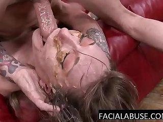 Skinny MILF mouth fucked to puke