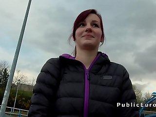 Czech babe blowjob in public outdoor