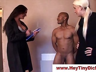 Femdom babes get cumshot from small guy