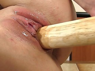 Moist juicy peach penetrated with toys