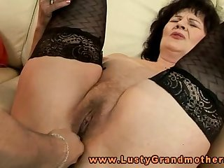 Mature granny in stockings toy pleased